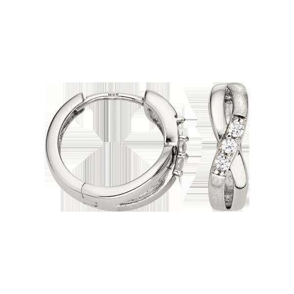Creole in 925´er Sterling Silber mit überkreuzten Design