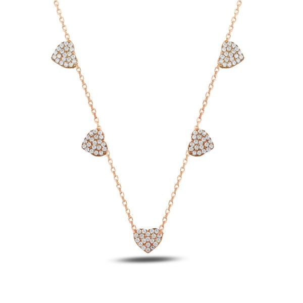 925´er Silber Halskette rose vergoldet mit Herzen