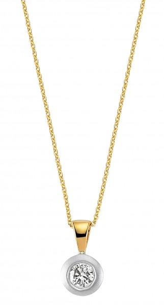 Diamant Anhänger mit Kette in 585`er Gelb- /Weißgold