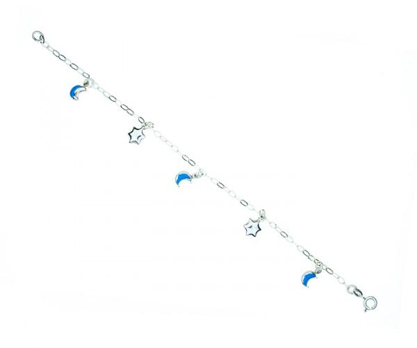 Armband Ankerkette mit Sternen und Halbmond 17 cm