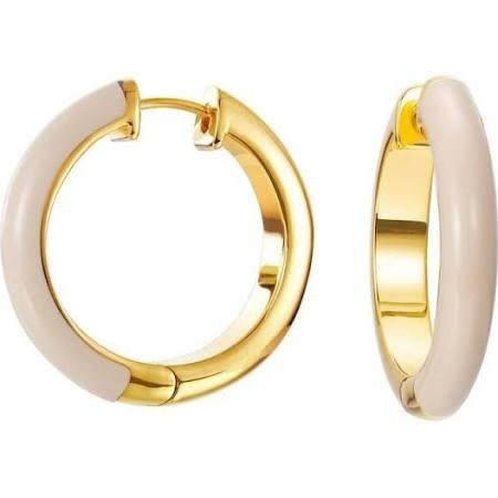 ESPRIT Damen Ohrringe Creole Edelstahl gold Fancy beige ESCO11657B000