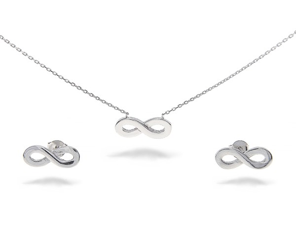 Infinity Set mit Ohrstecker und Kette aus 925er Silber