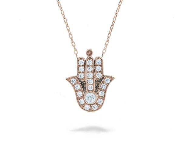 Halskette in 925´er Hand der Fatima mit Zirkonia Steinen.