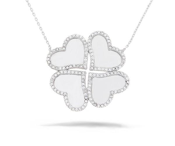 Kleeblatt Halskette mit Anhänger 925'er Silber