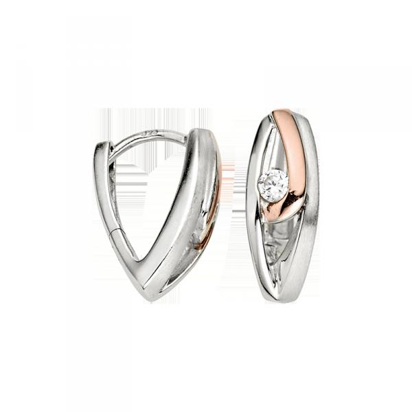 Creole in 925´er Sterling Silber mit zwei Farben und einem Zirkonia Stein