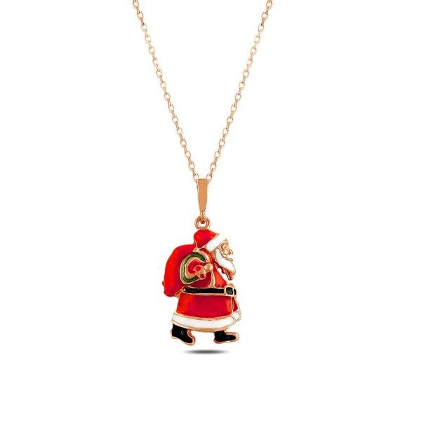 925´er Silber Halskette rose vergoldet mit Weihnachtsmann Anhänger