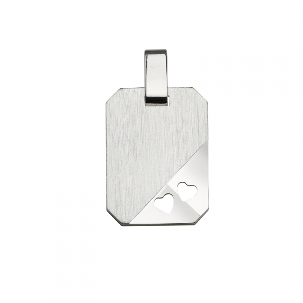 Gravurplatte in 925´er Sterling Silber mit eingestampften Herzen