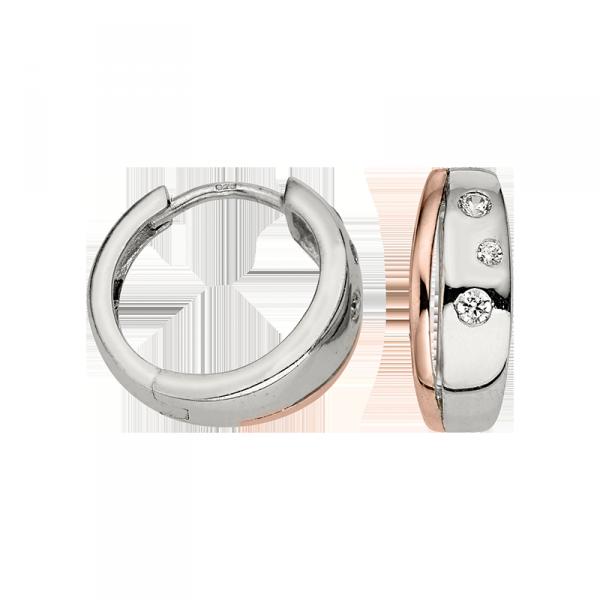 Creole in 925´er Sterling Silber mit Zirkonia Steinen