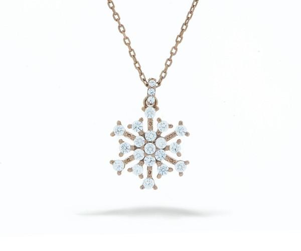 Schneeflocke Halskette Rosé