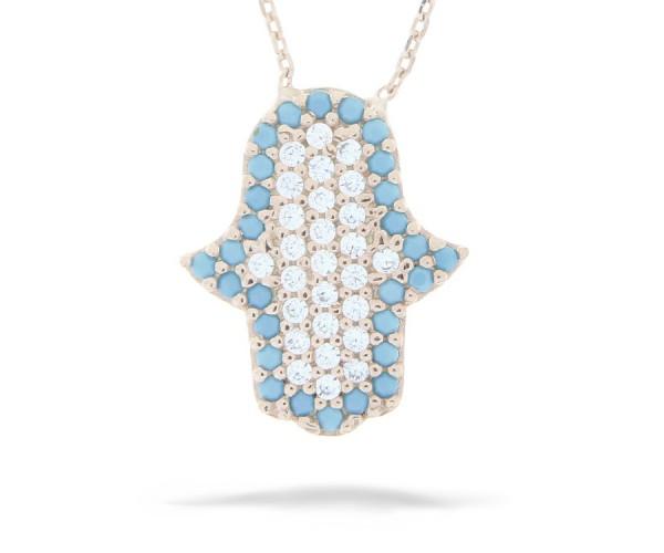Halskette in 925´er Hand der Fatima Rosé