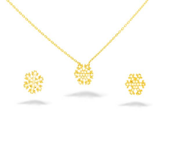 Gold Schneeflocke Set mit Ohrstecker und Kette aus 925er Silber