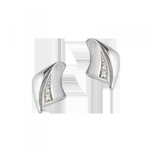 Ohrstecker in 925´er Sterling Silber in auffallendem Design und Zirkonia Stein