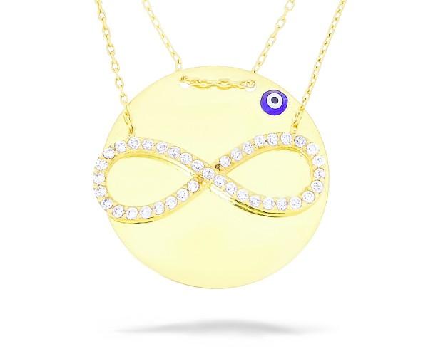 Halskette in 925´er Gravurplatte Nazar Armulett und Infinity