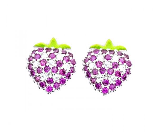 Ohrstecker Erdbeere mit Stein