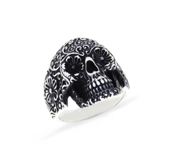 925'er Silber Totenkopf Ring