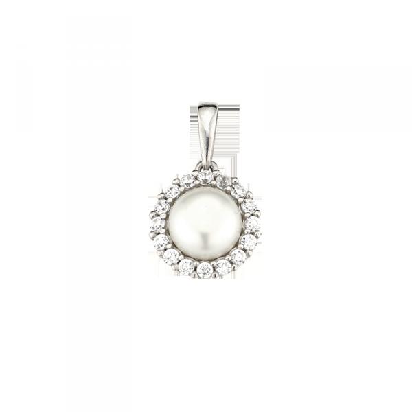 Anhänger in 925 er Sterling Silber mit einer Perle und einem Zirkonia Rand