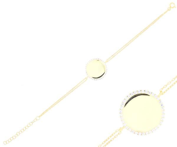 Damenarmband vergoldet mit Steinen und Gravur 20186