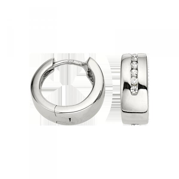 Creole in 925´er Sterling Silber mit Zirkonia und einer ungleichmäßigen Breite