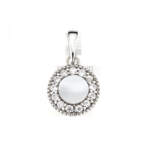 Anhänger in 925 er Sterling Silber mit einem Zirkonia Kreis und einem Silber Kern