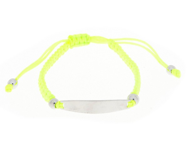 Identitätsarmband Armband mit Gravurplatte in neongelber Farbe