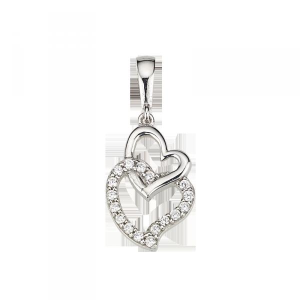 Herzanhänger in 925´er Sterlin Silber mit einem Herz aus Zirkonia