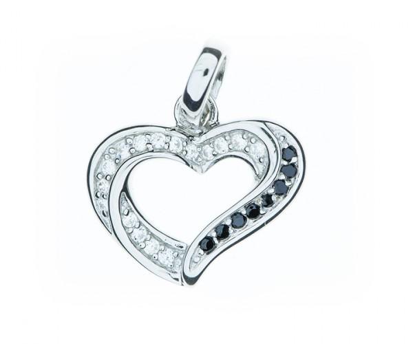 Silberanhänger Herz mit Zirkonia Steinen 30103