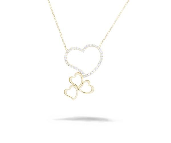 Halskette mit Anhänger Herz 925'er Silber rosé