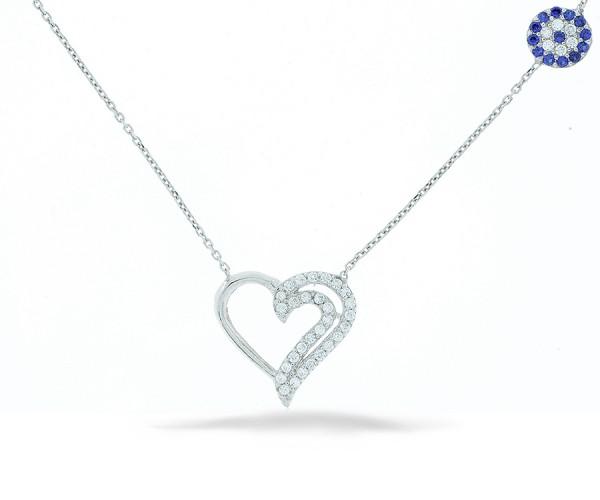 Halskette Herz Nazar Armulett mit Stein