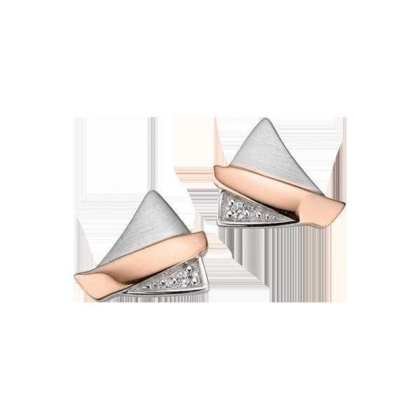 Ohrstecker in 925´er Sterling Silber in bicolor und Zirkonia