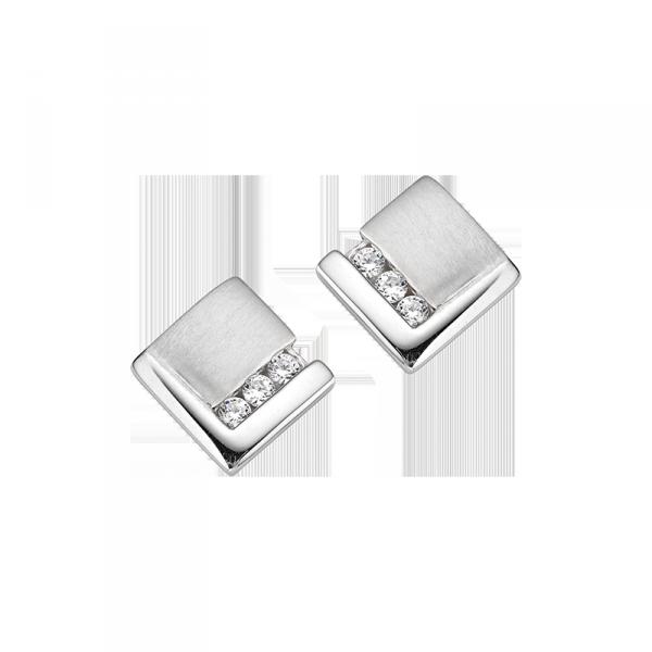 Ohrstecker in 925´er Sterling Silber in hervorragendem quadratischem Design mit Zirkonia Steinen