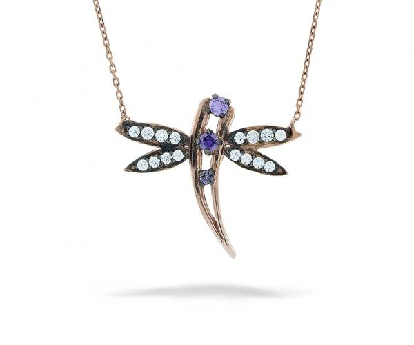 Halskette Libelle mit Stein