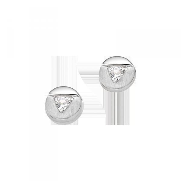 Ohrstecker in 925´er Sterling Silber in kreis Form und einer Zirkonia mitte