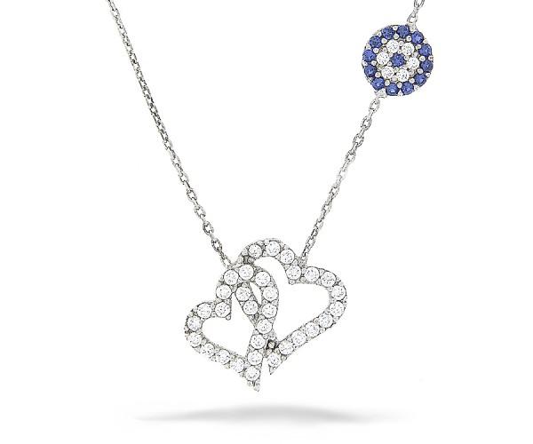 Halskette in 925´er Herzen mit Nazar Armulett
