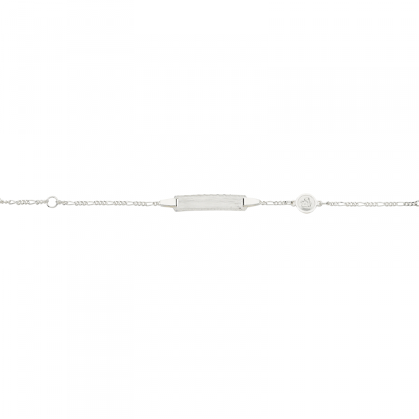 ID Armband in 925´er Sterling Silber mit einerm Schutzengel und mattierter Platte