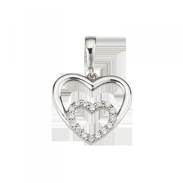 Herzanhänger in 925´er Sterling Silber mit einem modischen Doppel Herz aus Zirkonia