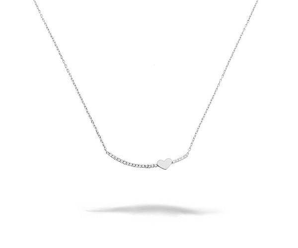 Halskette mit Anhänger 925'er Silber Herz mit Zikonia Steinen