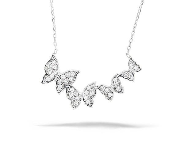 Halskette mit Anhänger Schmetterlinge 925'er Silber