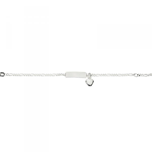 ID Armband in 925´er Sterling Silber mit Herzanhänger