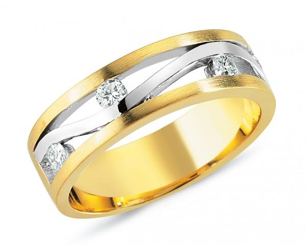 Damenring mit Brillanten aus Gelb- /Weißgold