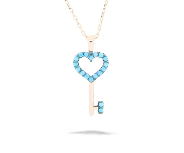 Halskette mit Anhänger Schlüssel/Herz 925'er Silber rosê