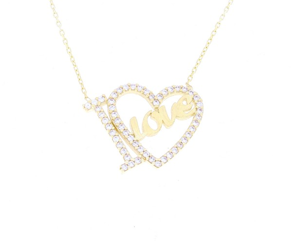 Halskette I love mit Herz in 585er Gold 50251