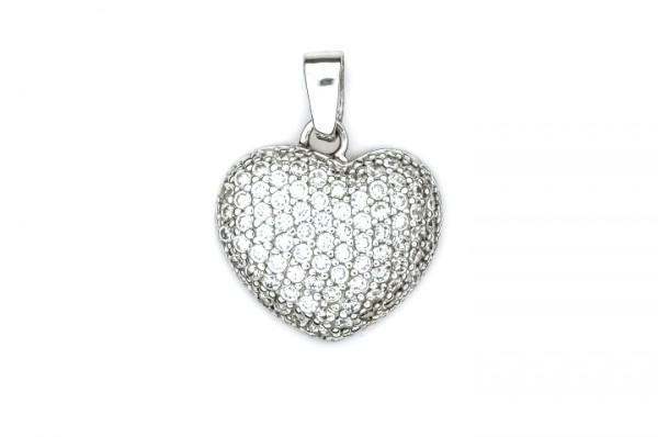 Silberanhänger Herz mit Zirkonia Steinen