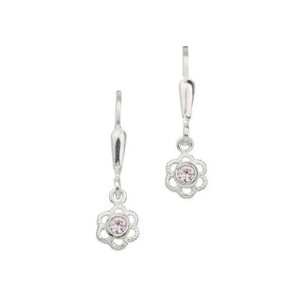 Schöne Ohrhänger in 925´er Sterling Silber in Blumenform mit Pinken Steinen