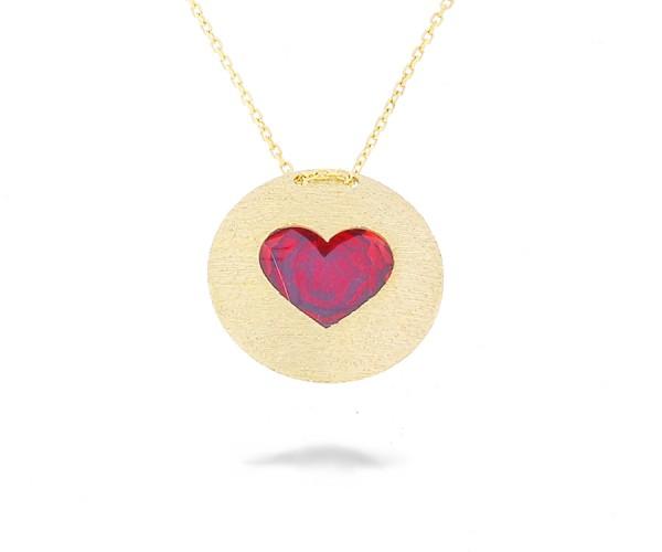 Halskette mit einem rotem Herz in 585er Gold 50249