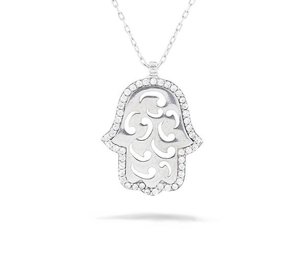 Hand der Fatima Halskette 925'er Silber