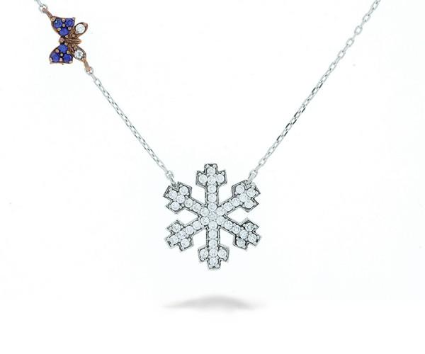 Schneeflocke Halskette Rosé Schmetterling