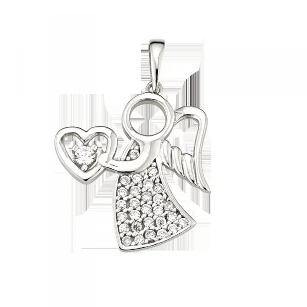 Anhänger in 925 er Sterling Silber in Engel Form mit Herz und Zirkonia