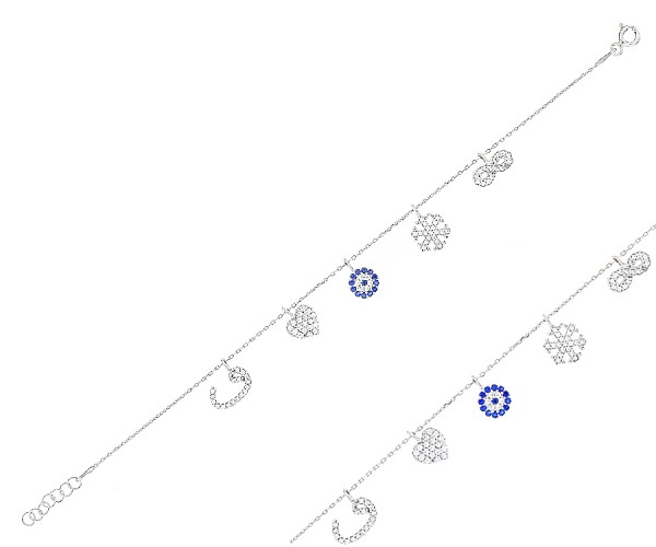 Damenarmband Vav-Herz-Nazar Armulett-Schneeflocke-Infinity 17-18 cm 20165