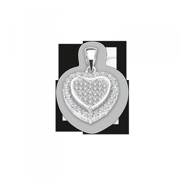 Herzanhänger in 925´er Sterling Silber mit Zirkonia CEM